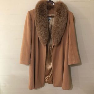 Marvin Richards Lambs Wool Fur Camel Colored Coat